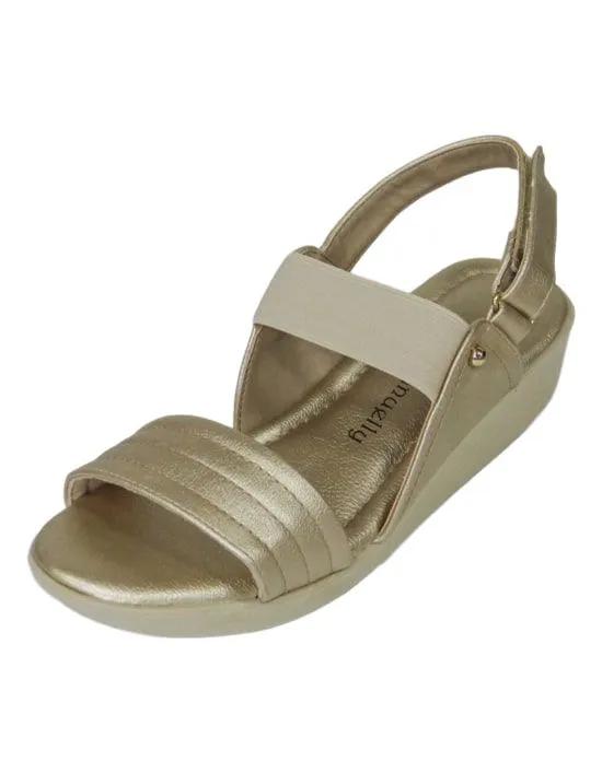 Sandália Comfort com Elástico - Ouro Light