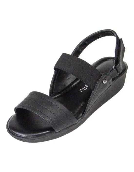 Sandália Comfort com Elástico - Preto