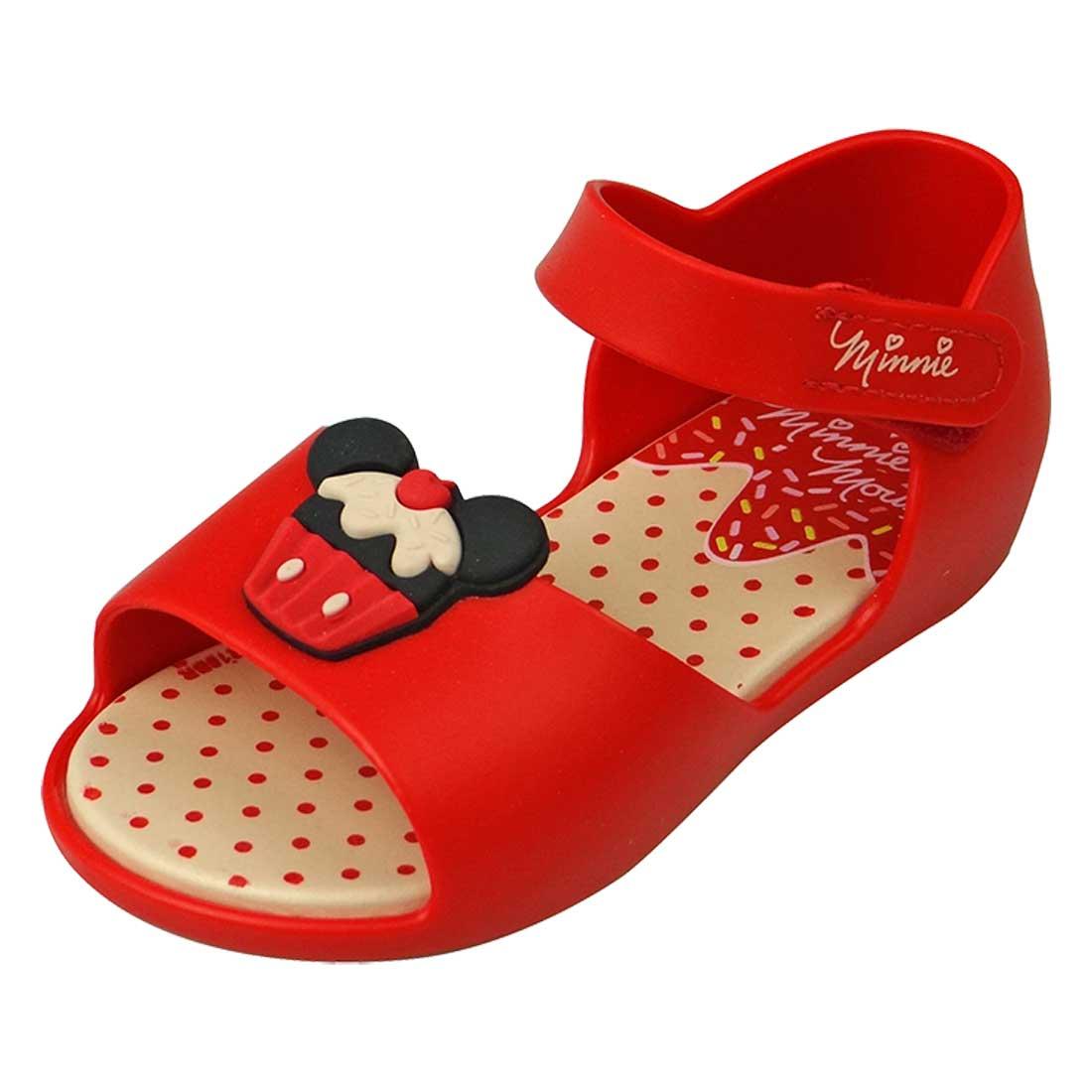 Sandália Disney Minnie Fun Cupcake - Branca e Vermelha