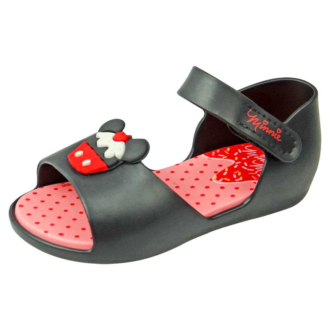 Sandália Disney Minnie Fun Cupcake - Preta e Vermelha