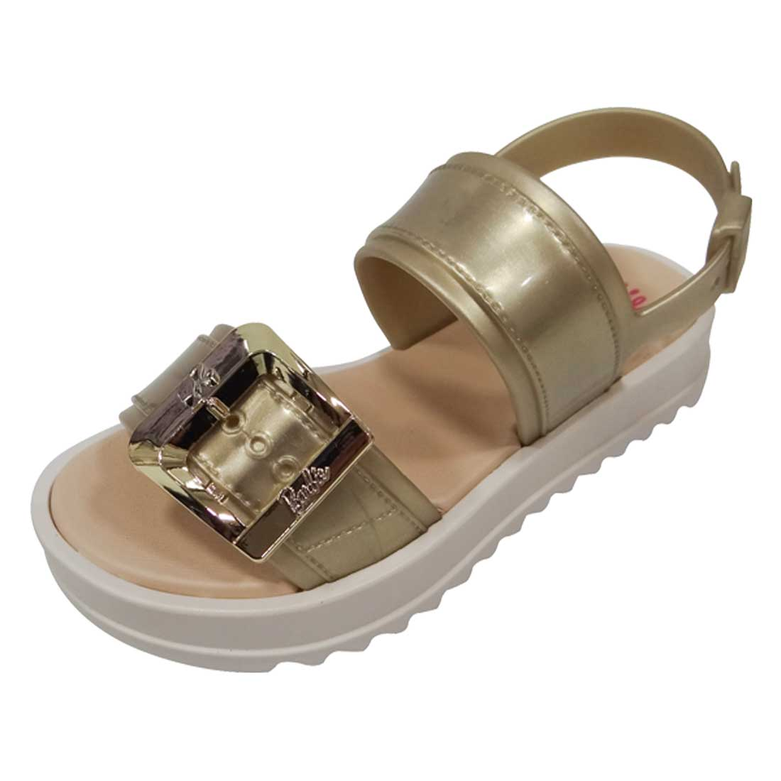 Sandália Flatform Barbie Girls - Bege e Ouro