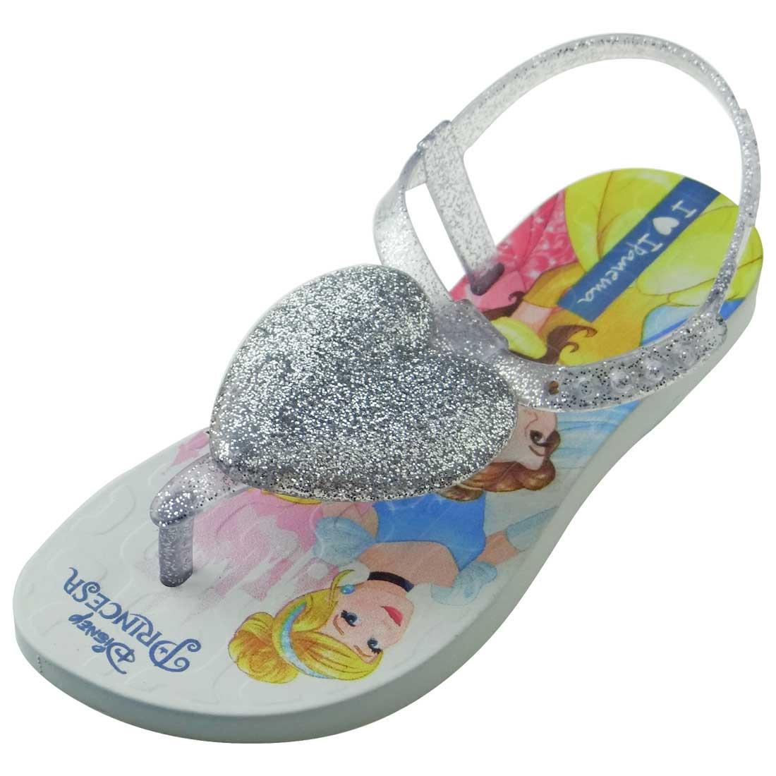 Sandália Ipanema Princesas Disney Coração - Prata