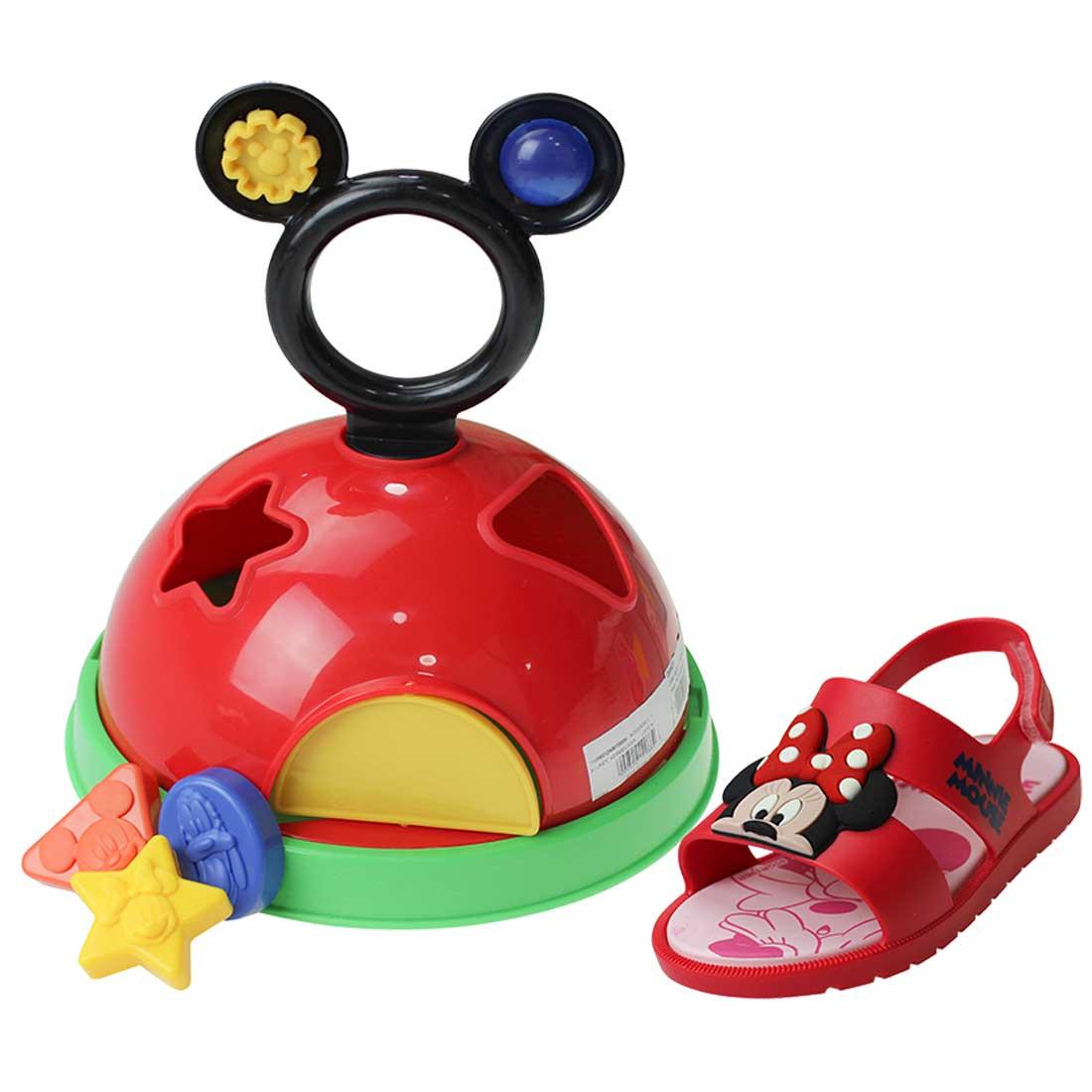 Sandália Mickey - Vermelho e Rosa (acompanha casinha)