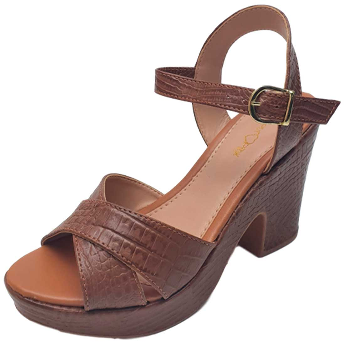 Sandália Plataforma Croco - Caramelo
