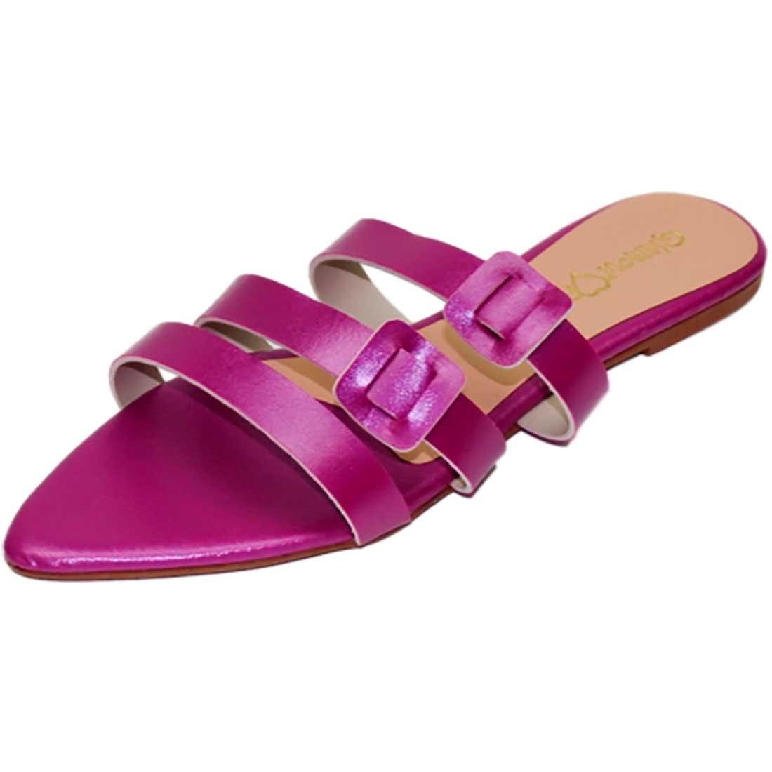 Sandália Rasteira Bico Folha Metalizada - Pink