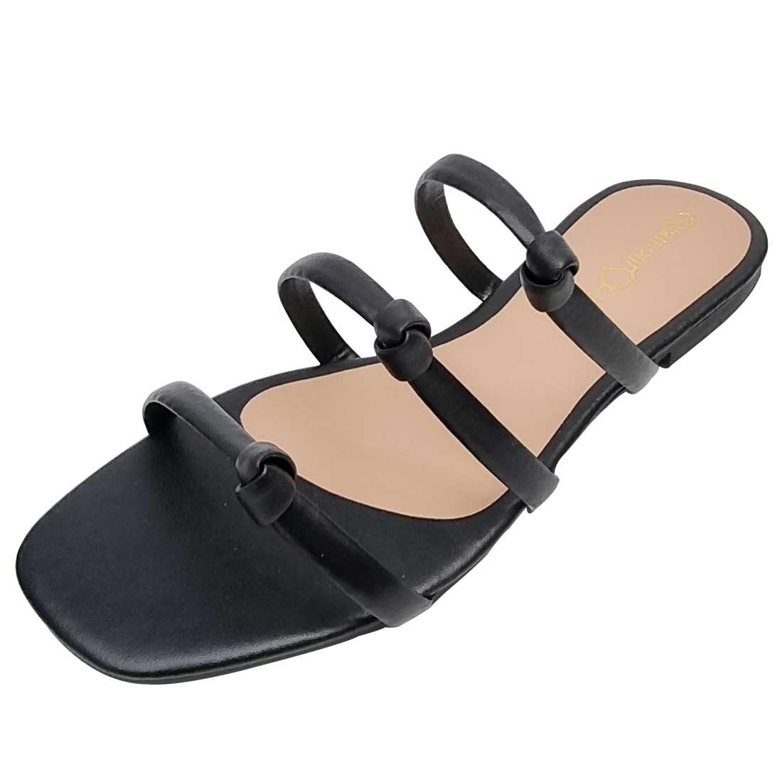 Sandália Salto Baixo com Tiras Nózinho - Preto
