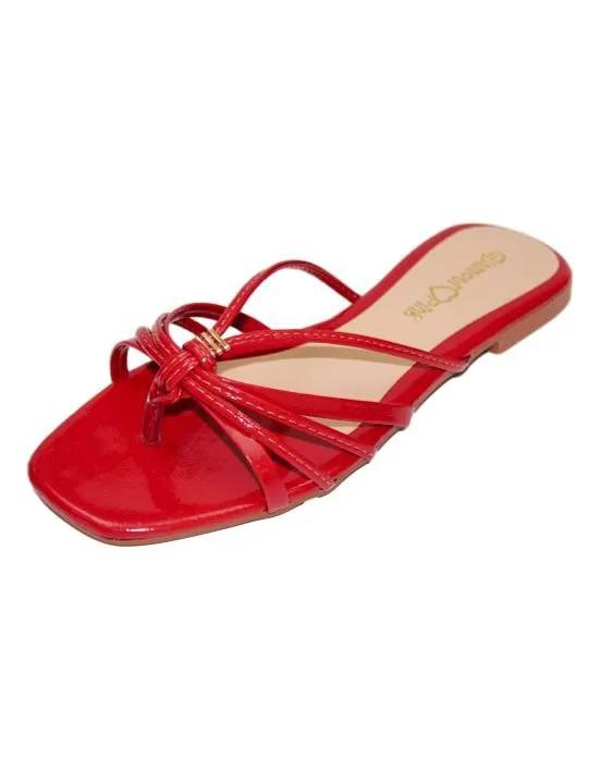 Sandália Rasteira com Tiras - Vermelha