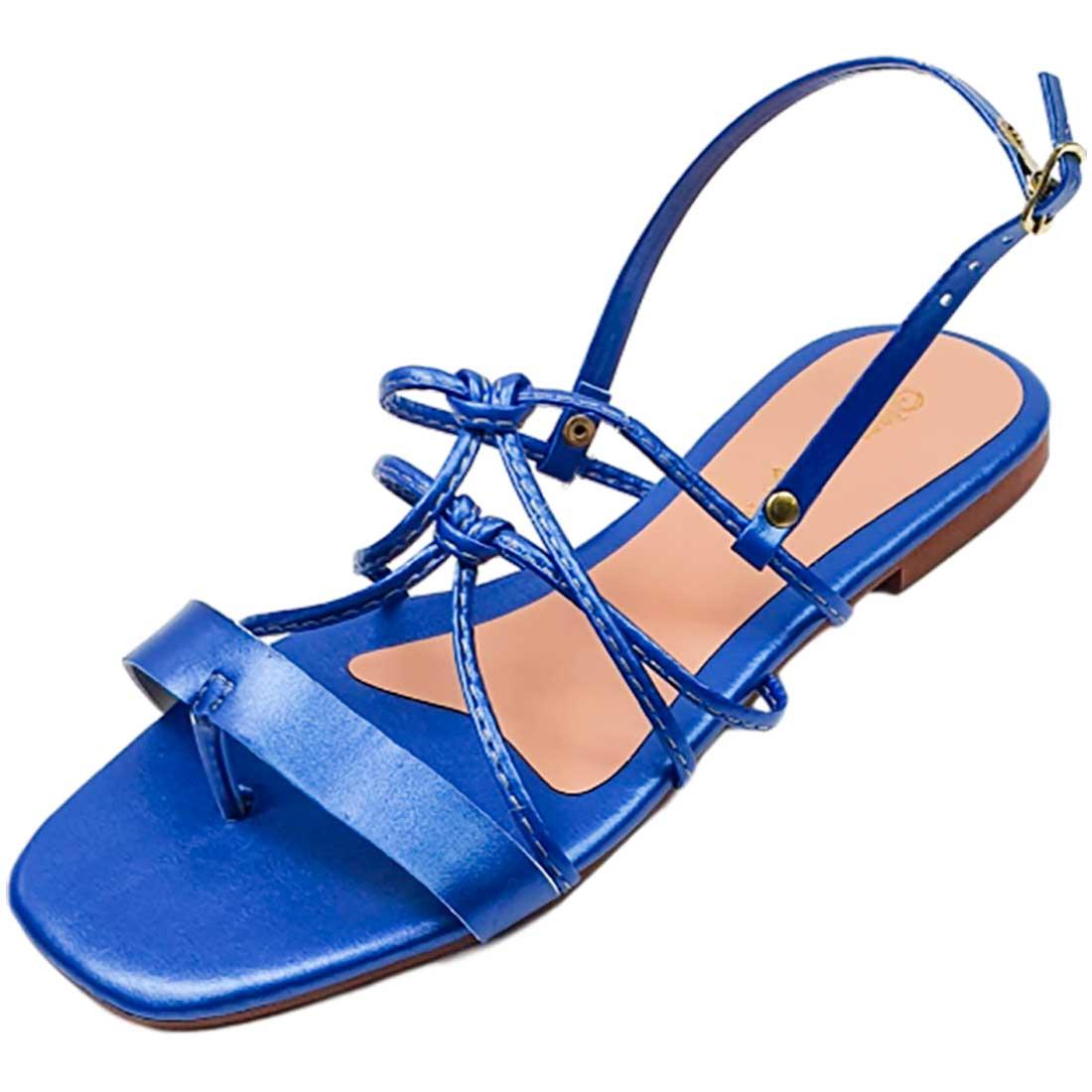 Sandália Rasteira Cruzada Metalizada - Azul