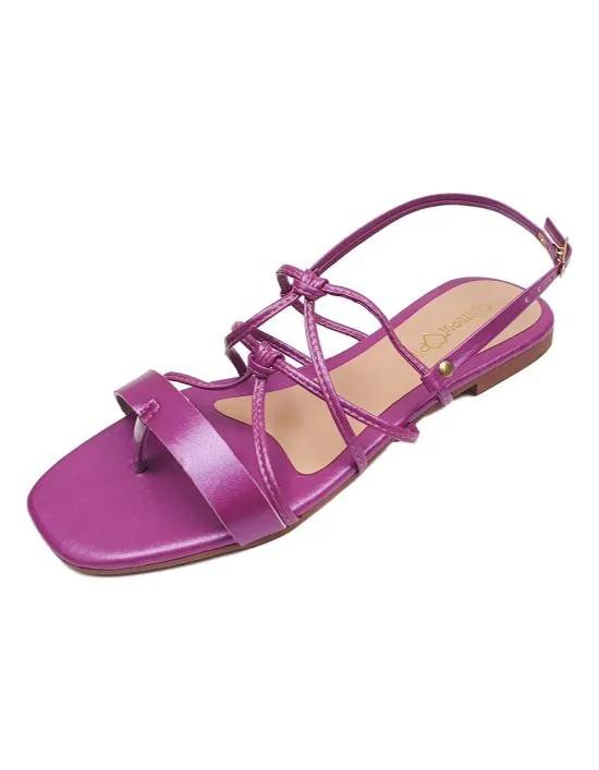 Sandália Rasteira Cruzada Metalizada - Pink