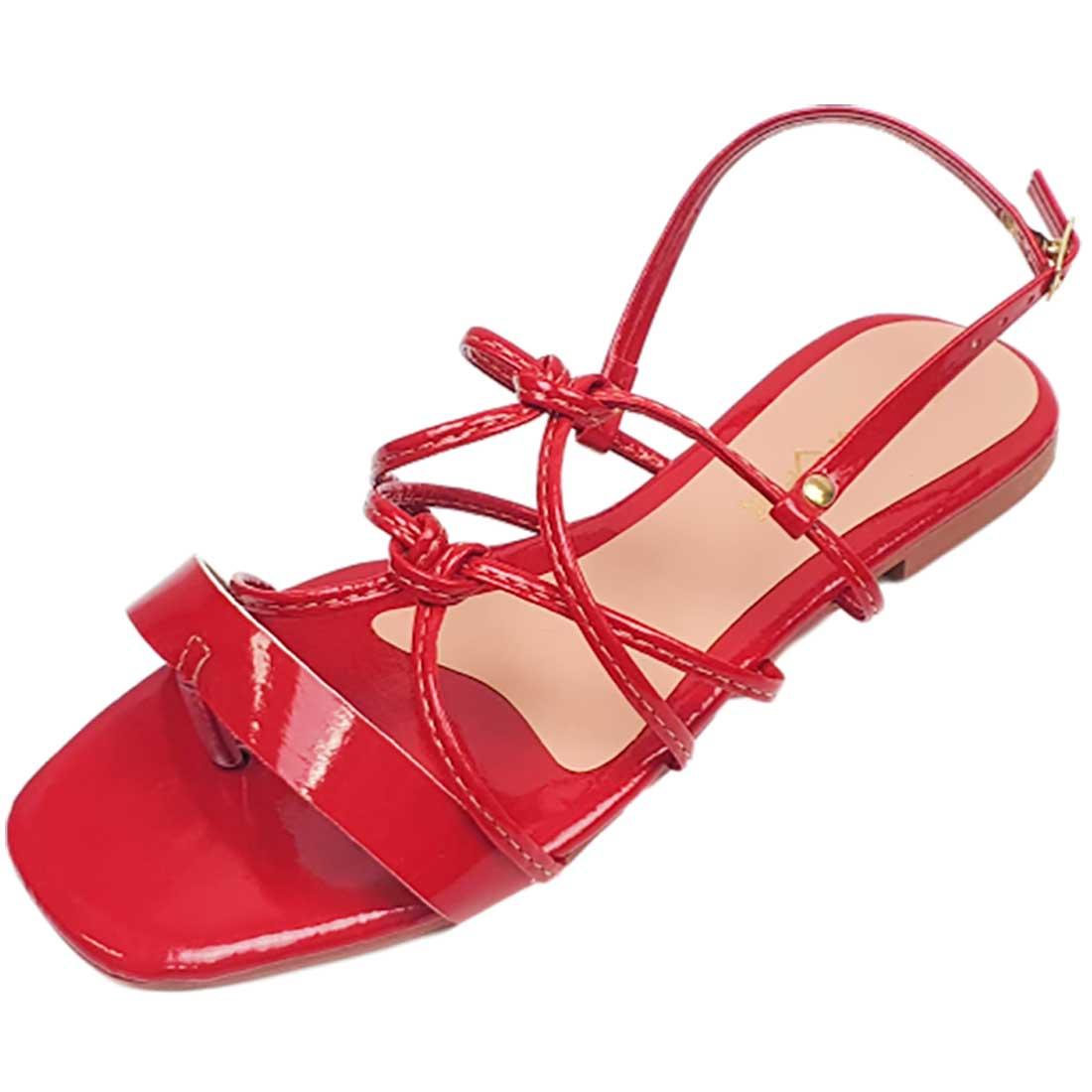 Sandália Rasteira Cruzada Verniz - Vermelha