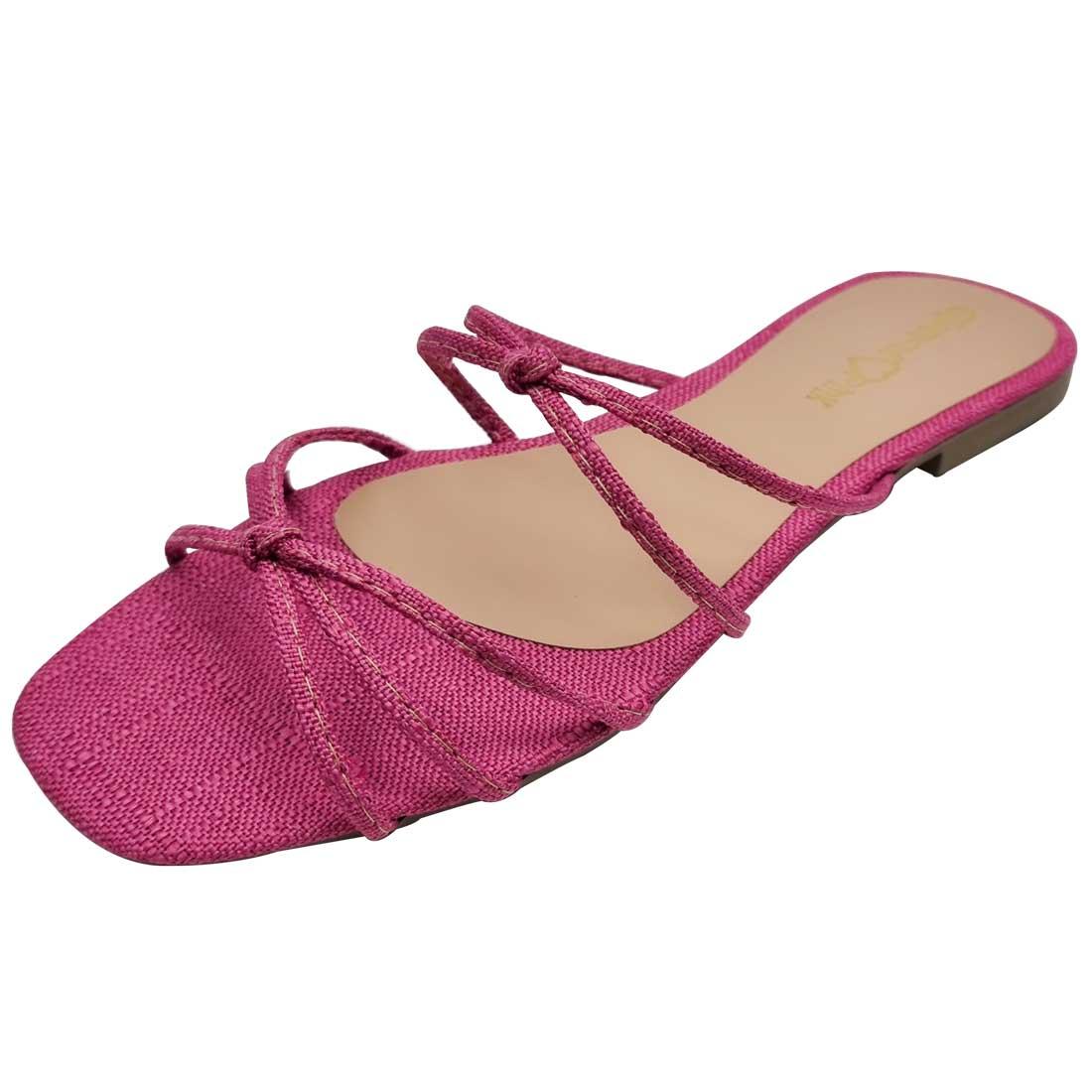 Sandália Rasteira em Linho Tiras Finas - Pink