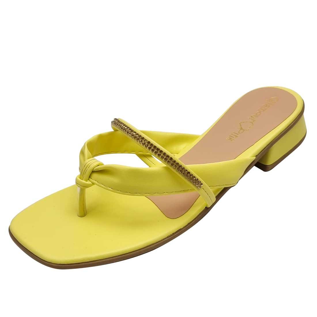 Sandália Rasteira em V com Strass - Amarela
