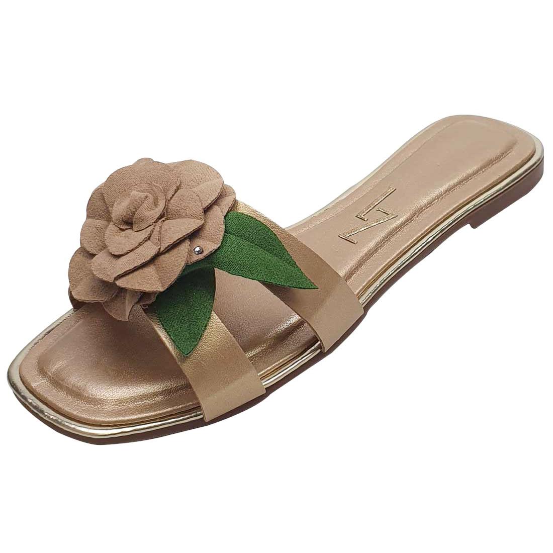 Sandália Rasteira em Verniz com Flor - Ouro