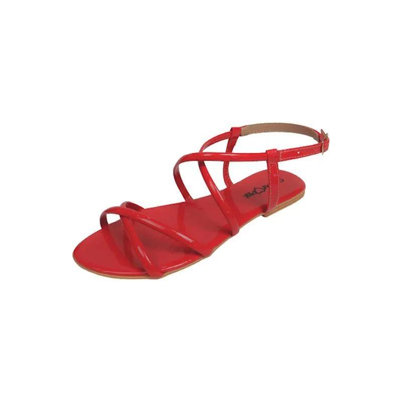 Sandália Rasteira Verniz Cruzada - Vermelha