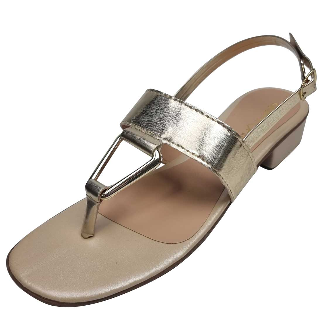 Sandália Salto Baixo com Fivela - Ouro