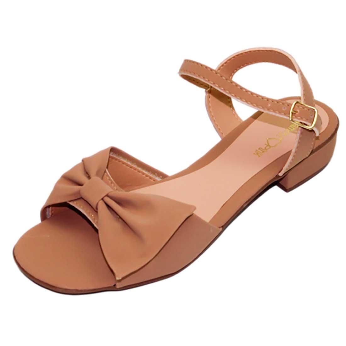 Sandália Salto Baixo com Laço - Bege