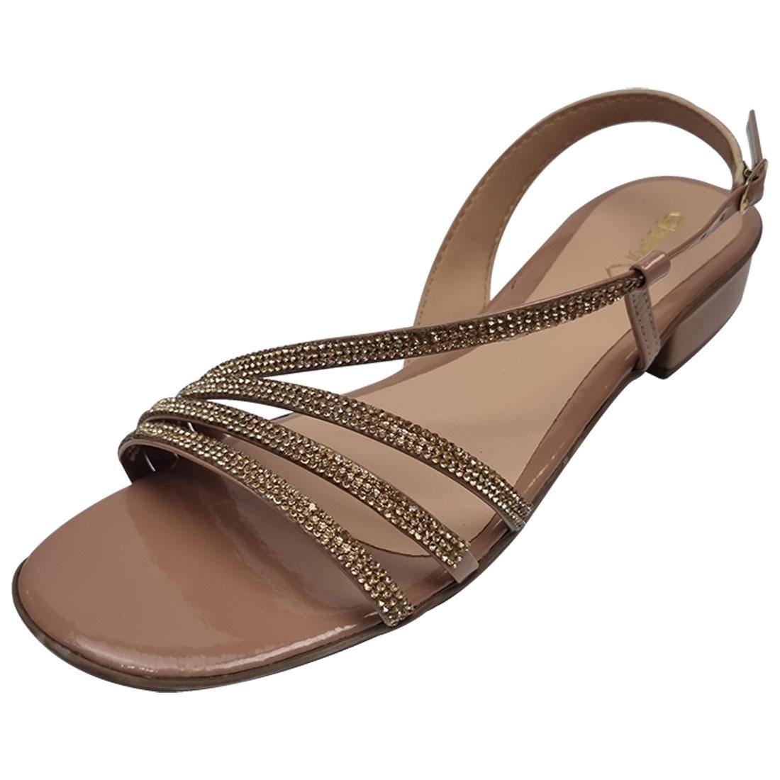 Sandália Salto Baixo com Strass - Bege