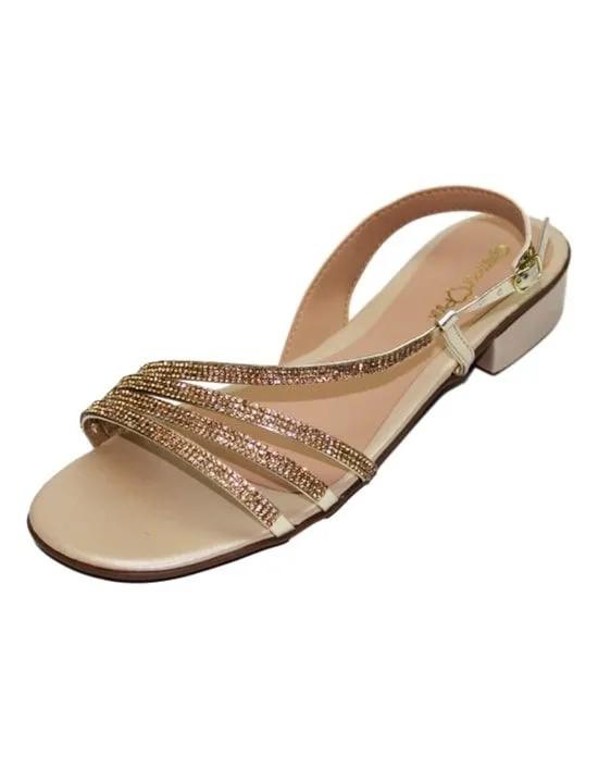 Sandália Salto Baixo com Strass - Ouro