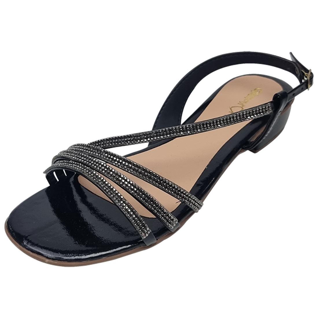 Sandália Salto Baixo com Strass - Preto