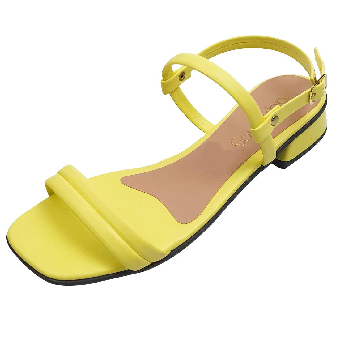 Sandália Salto Baixo com Tiras - Amarelo