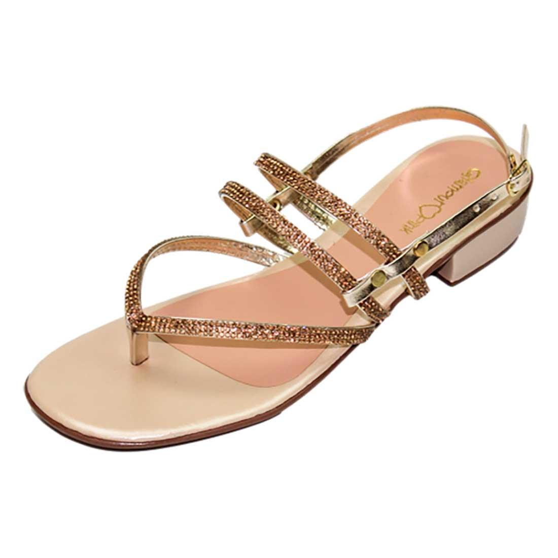 Sandália Salto Baixo com Tiras em Strass - Ouro
