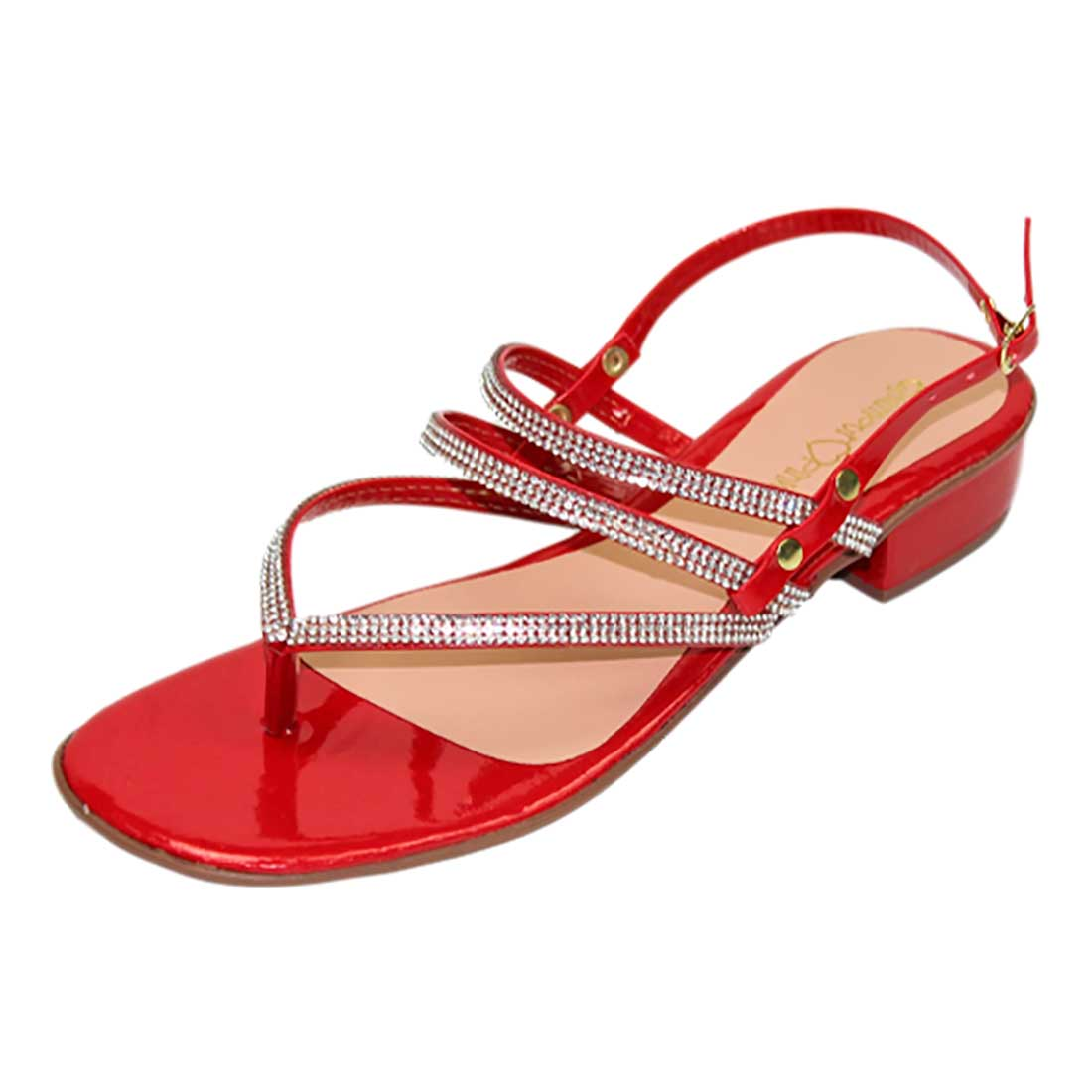 Sandália Salto Baixo com Tiras em Strass - Vermelho