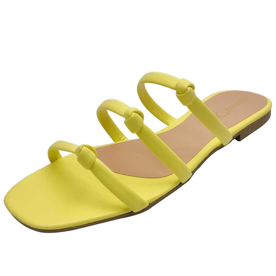 Sandália Salto Baixo com Tiras Nózinho - Amarelo