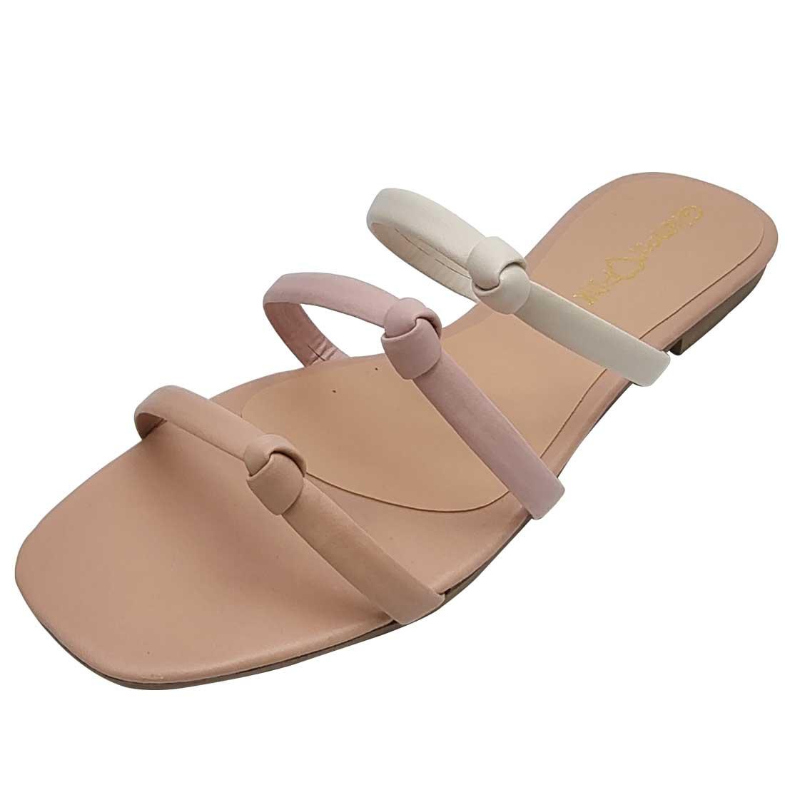 Sandália Salto Baixo com Tiras Nózinho - Bege