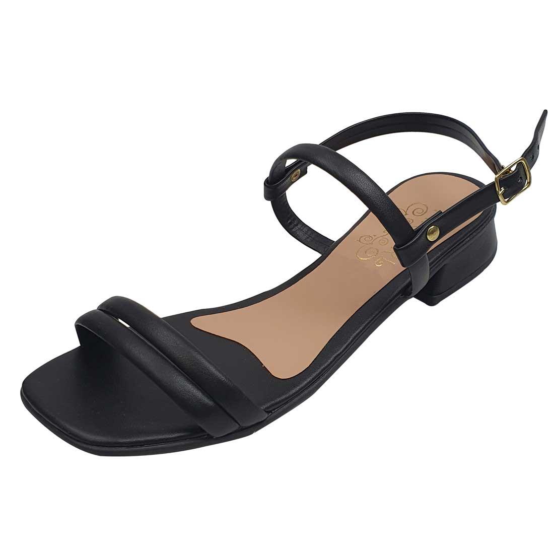 Sandália Salto Baixo com Tiras - Preto