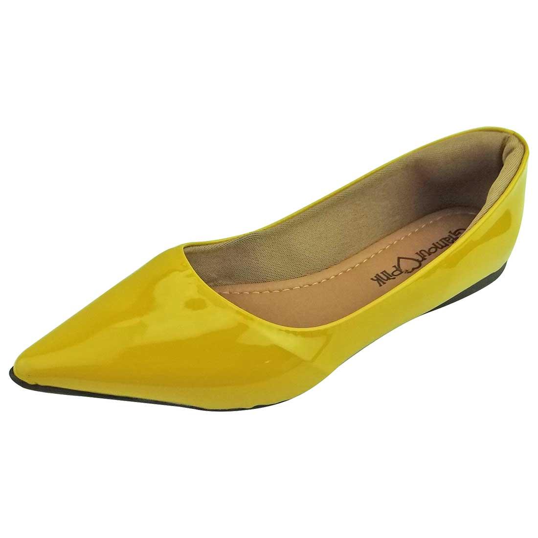 Sapatilha Verniz Bico Fino - Amarela
