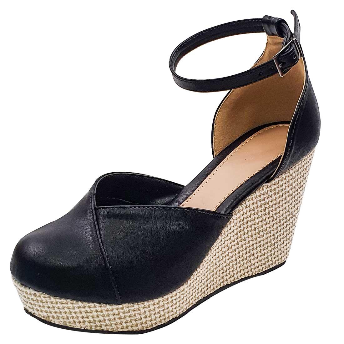 Sapato Anabela Fechada com Salto Trançado - Preto