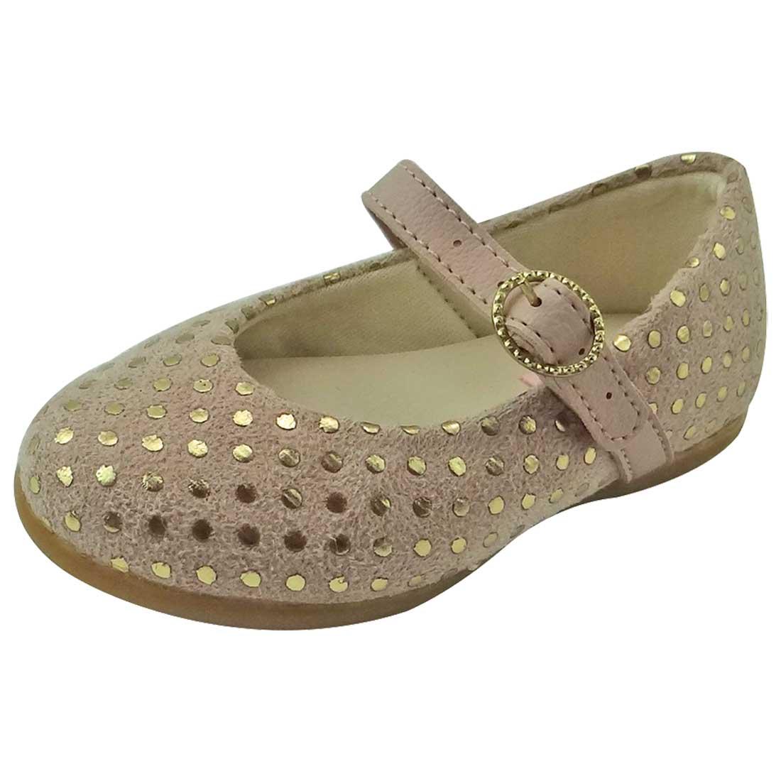 Sapato Boneca Baby Bolinhas - Nude e Ouro