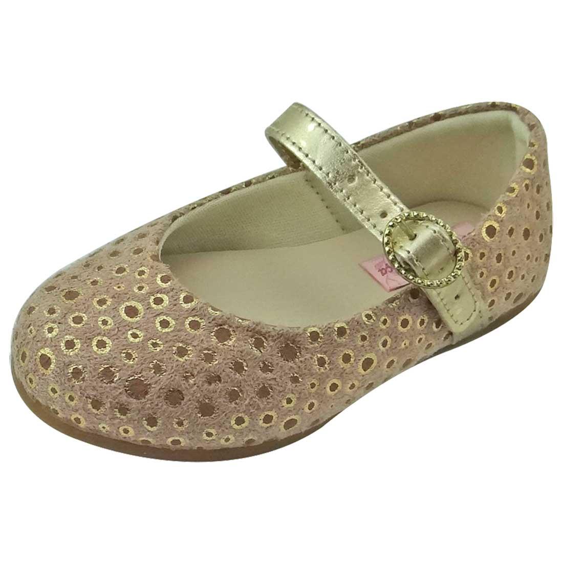Sapato Boneca Baby com Bolinhas - Nude