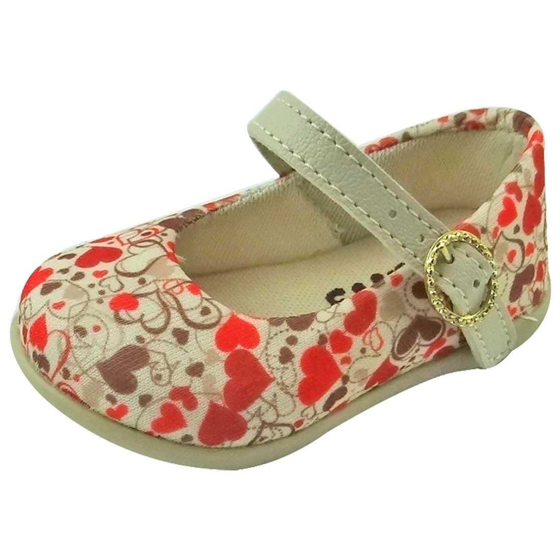 Sapato Boneca Baby com Coração - Bege e Laranja