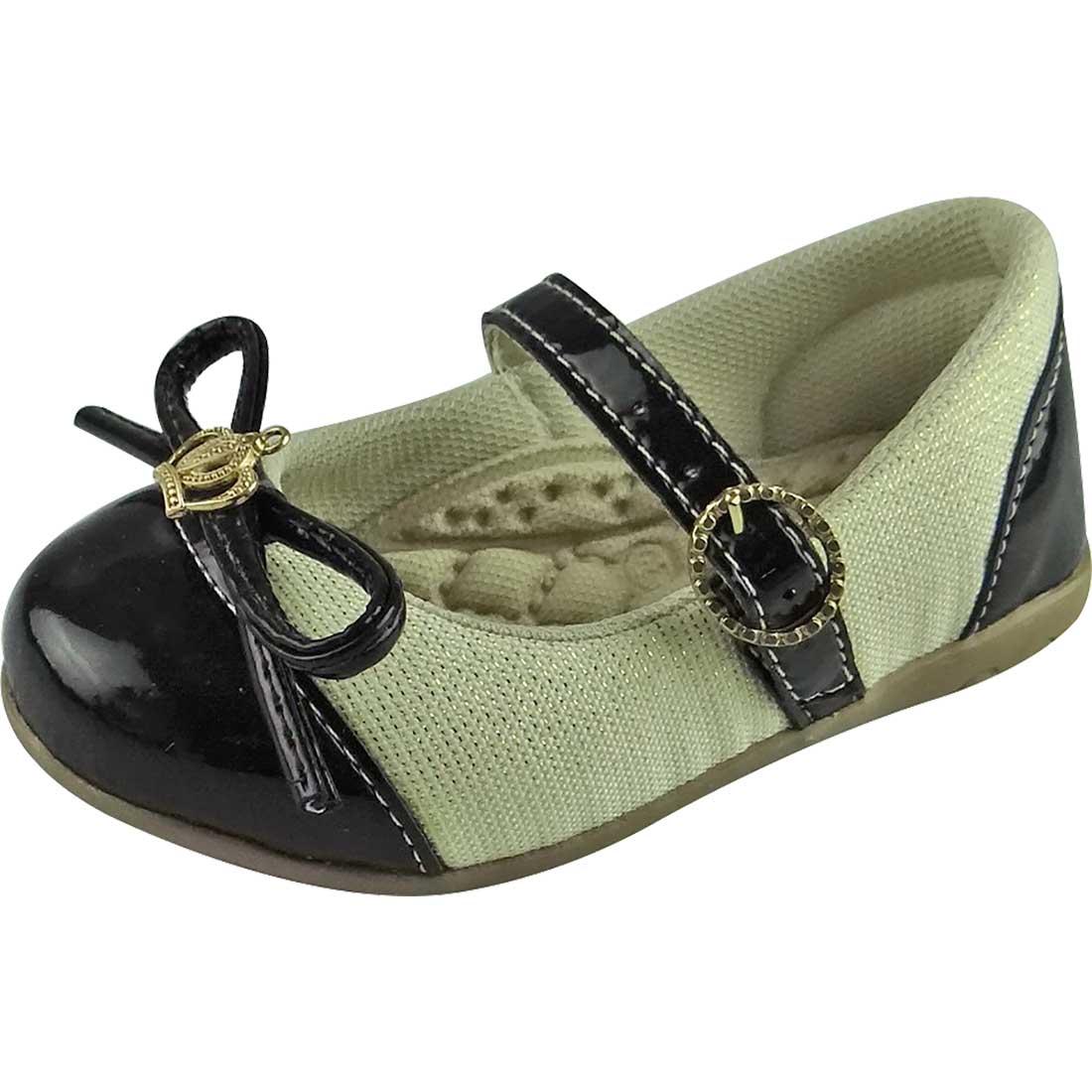 Sapato Boneca Baby com Coroa - Creme e Preto