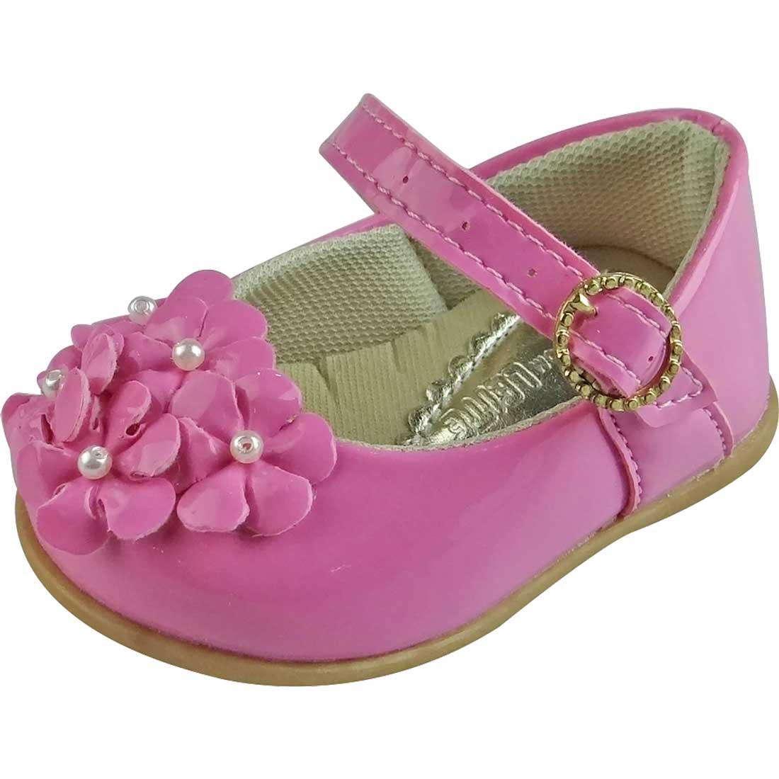 Sapato Boneca Baby com Flor - Rosa