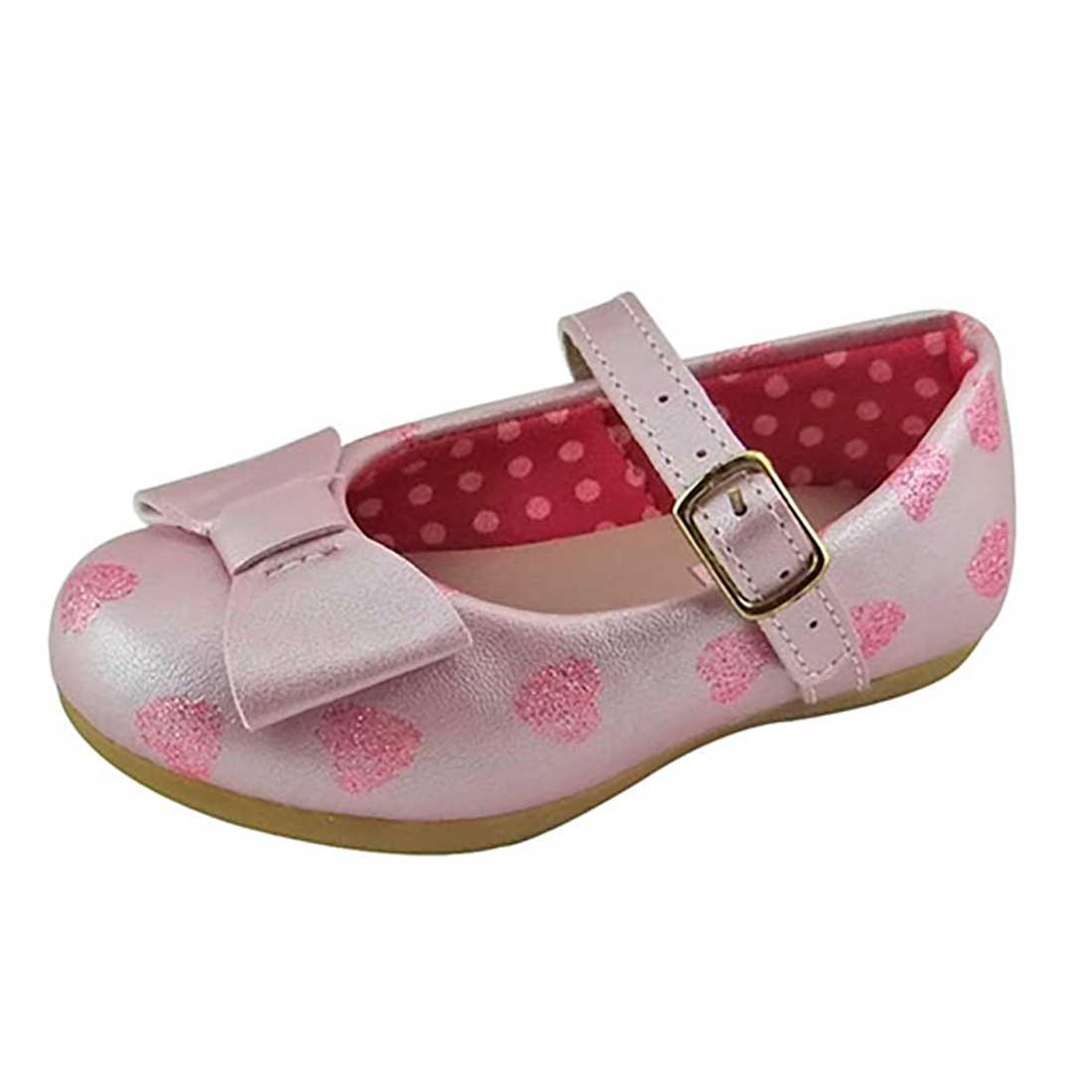 Sapato Boneca Baby com Lacinho e Coração - Rosa