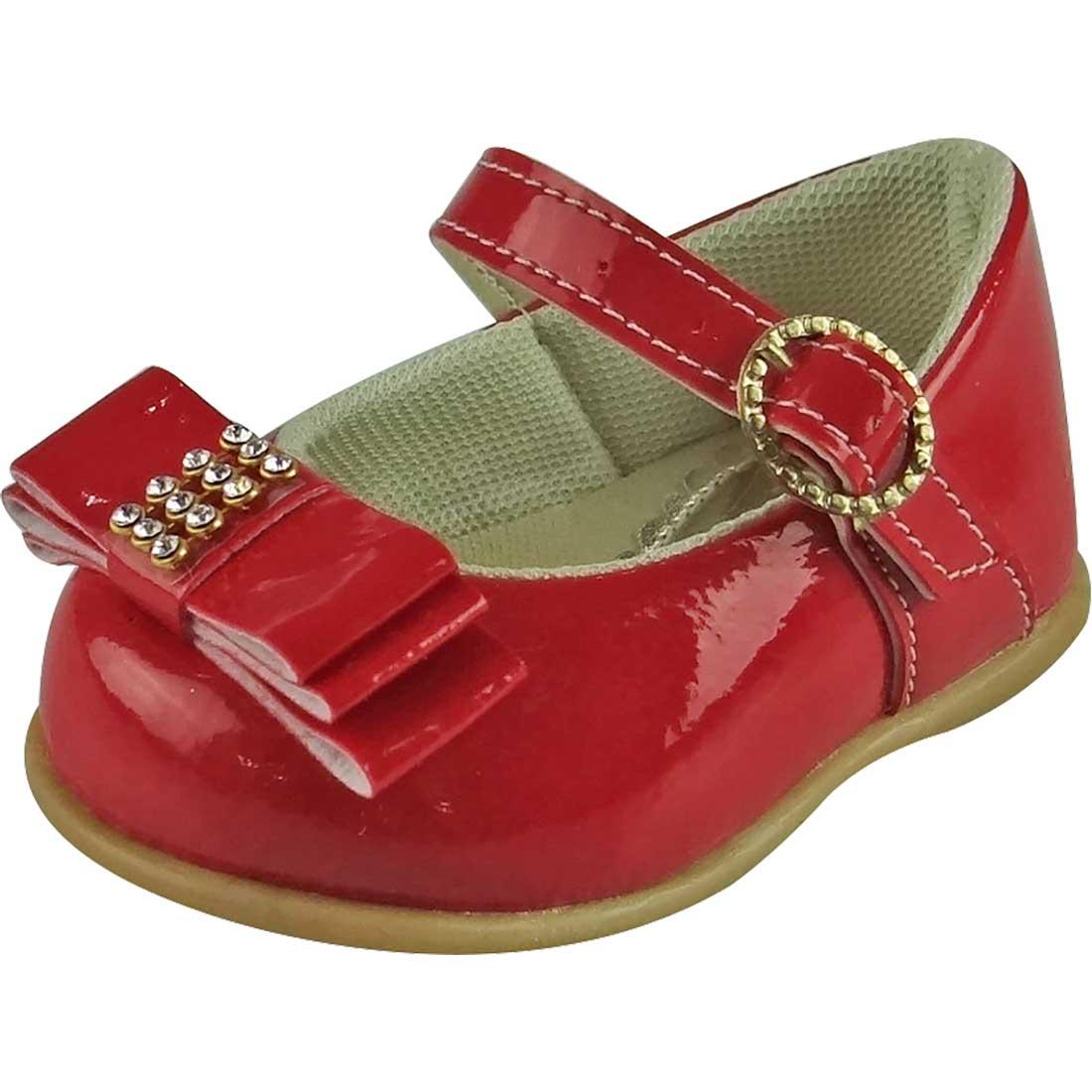 Sapato Boneca Baby com Lacinho e Strass - Vermelho