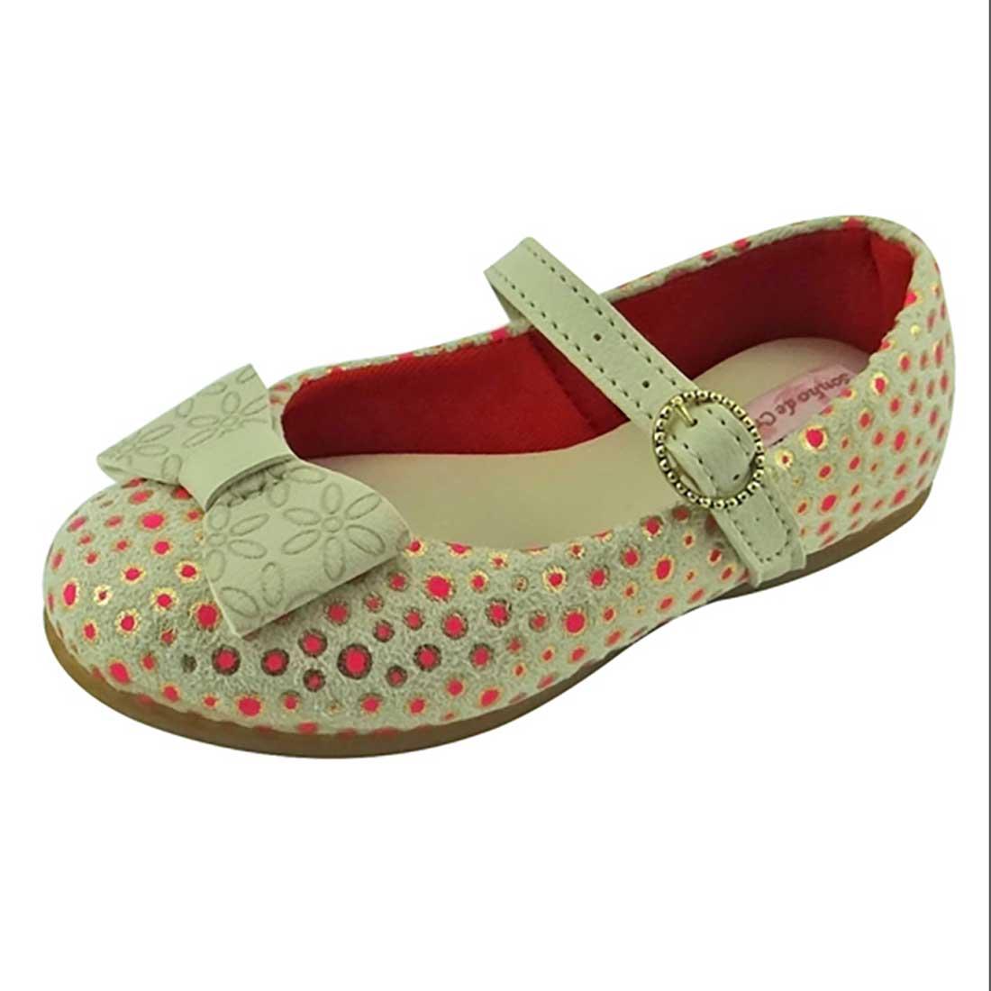 Sapato Boneca Baby com Laço - Bege e Pink