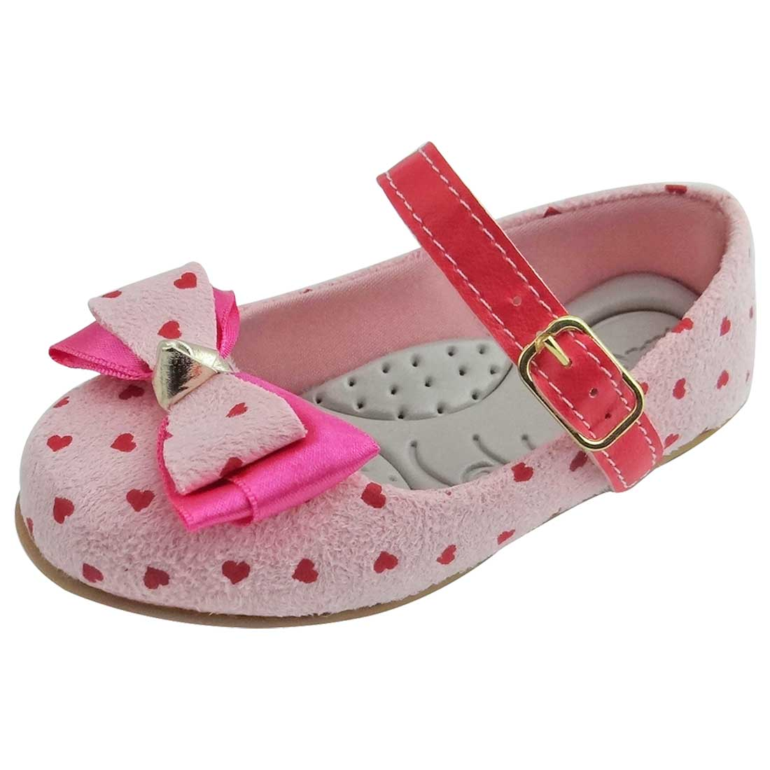 Sapato Boneca Baby com Laço Duplo e Corações - Rosa
