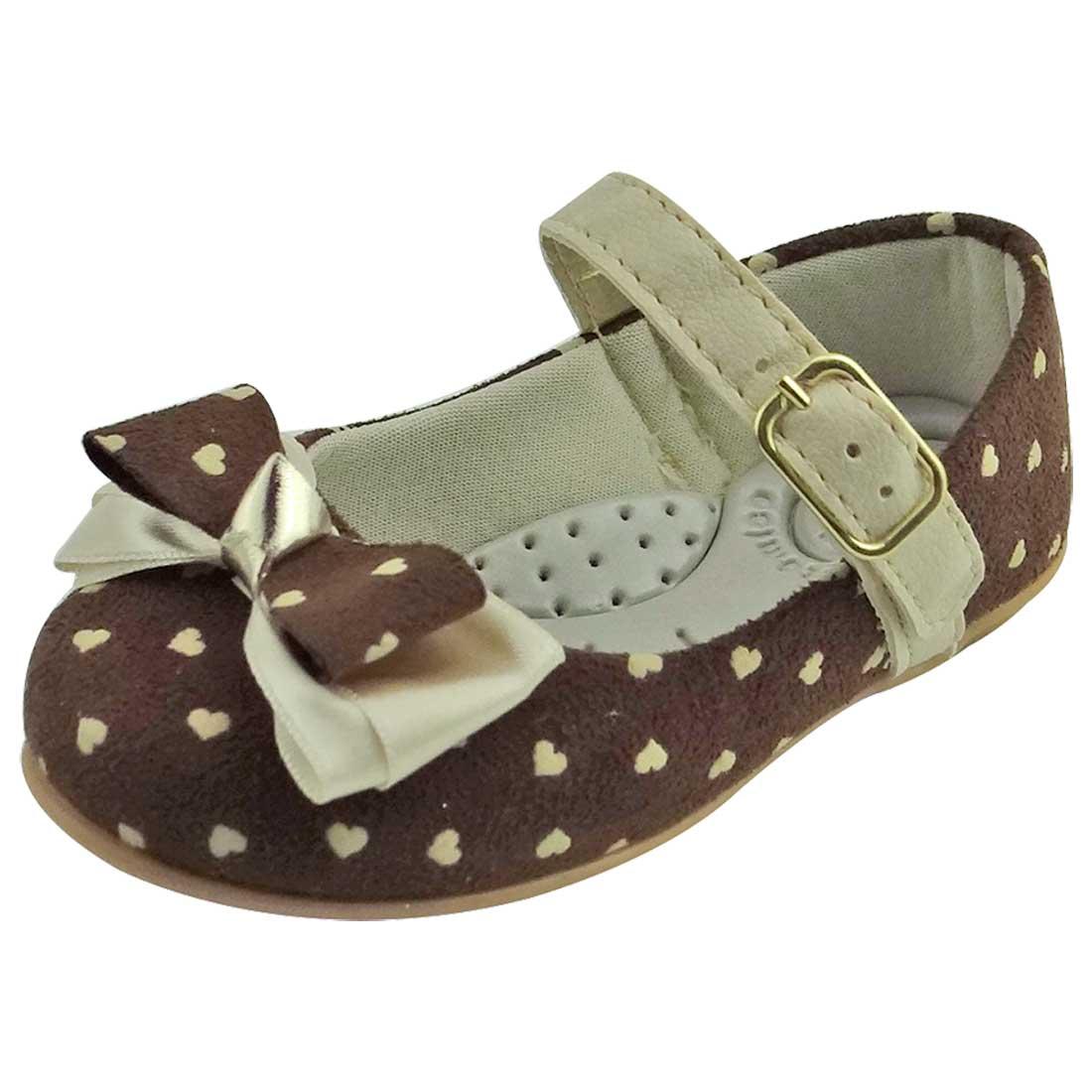Sapato Boneca Baby com Laço e Coração - Marrom