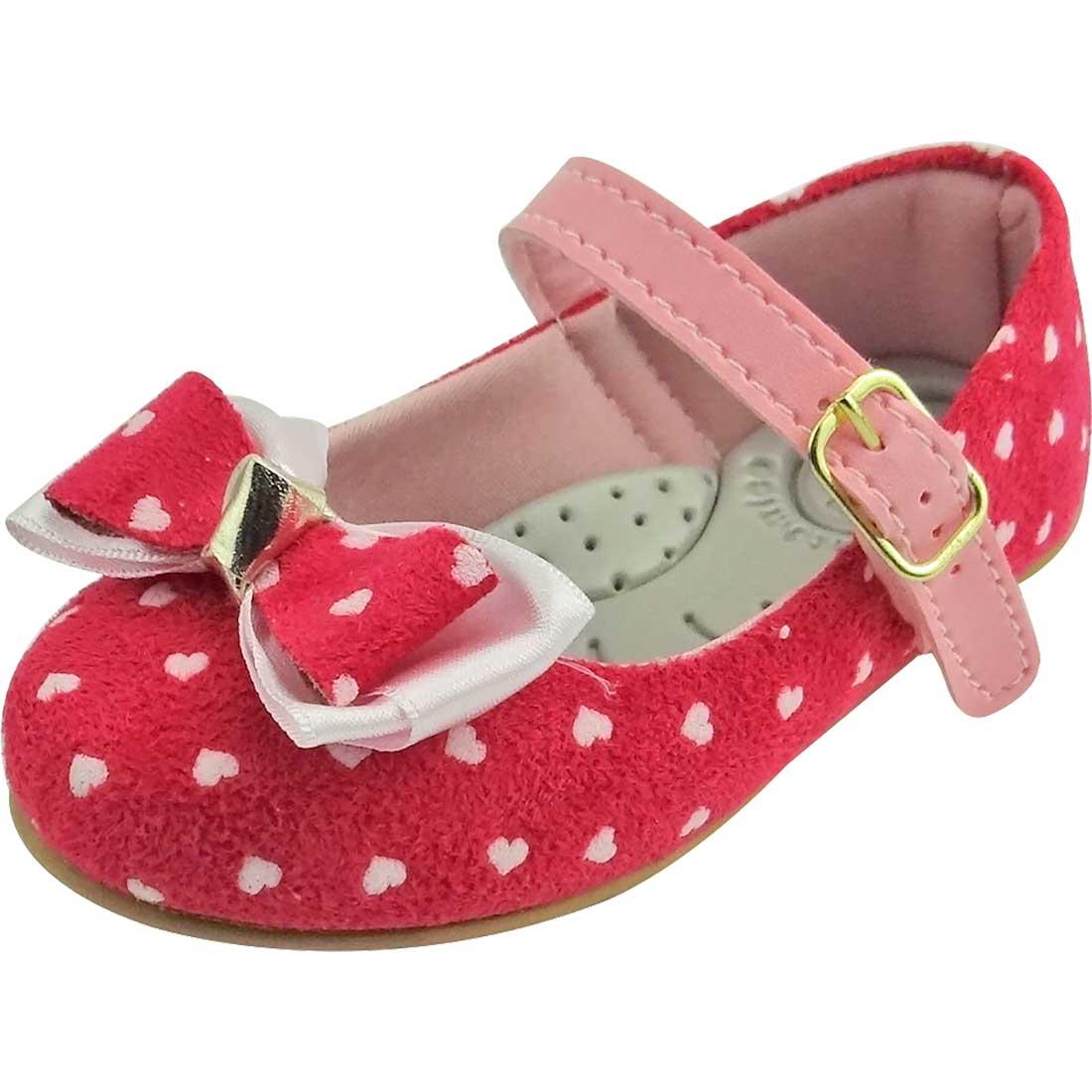Sapato Boneca Baby com Laço e Coração - Pink