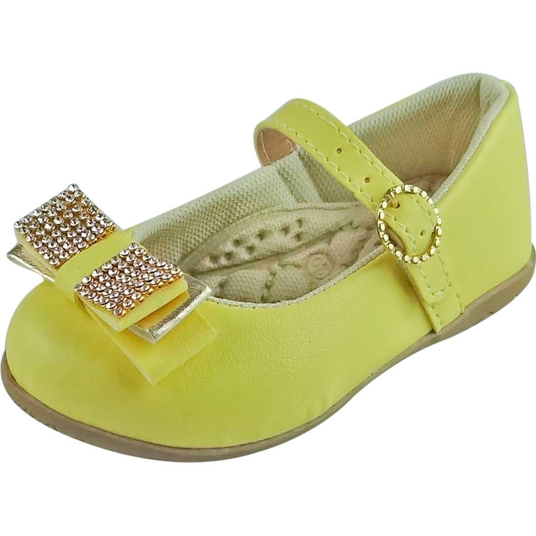 Sapato Boneca Baby com Laço e Strass - Amarelo