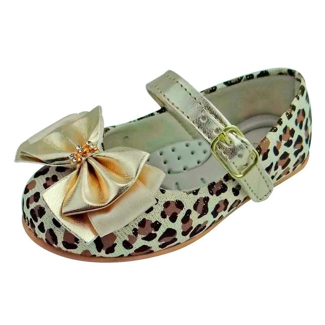 Sapato Boneca Baby com Laço e Strass - Onça