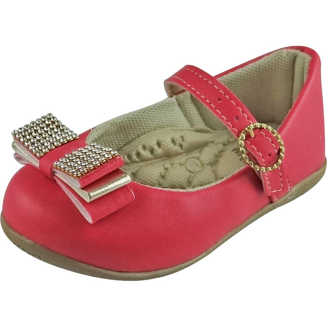 Sapato Boneca Baby com Laço e Strass - Pink