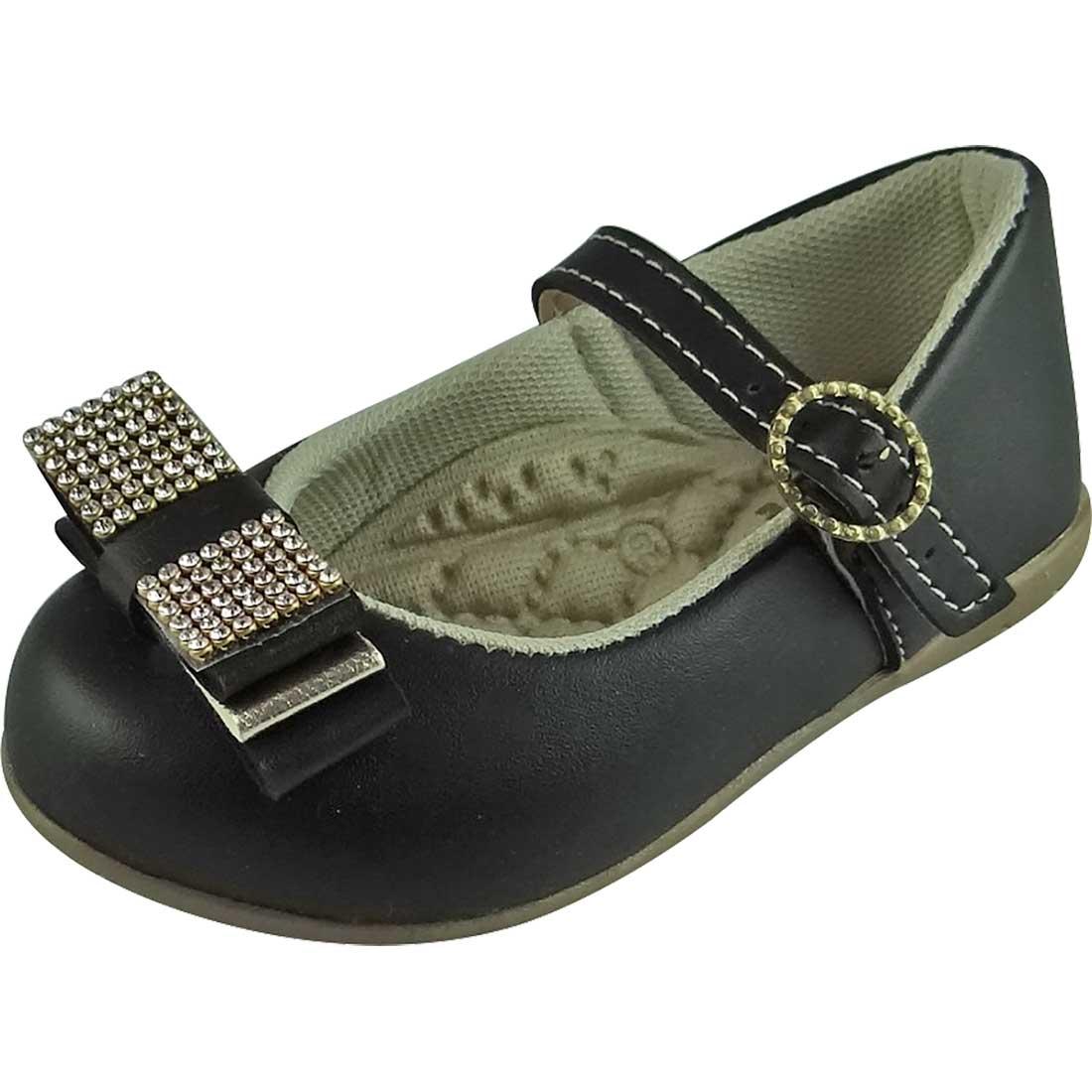 Sapato Boneca Baby com Laço e Strass - Preto
