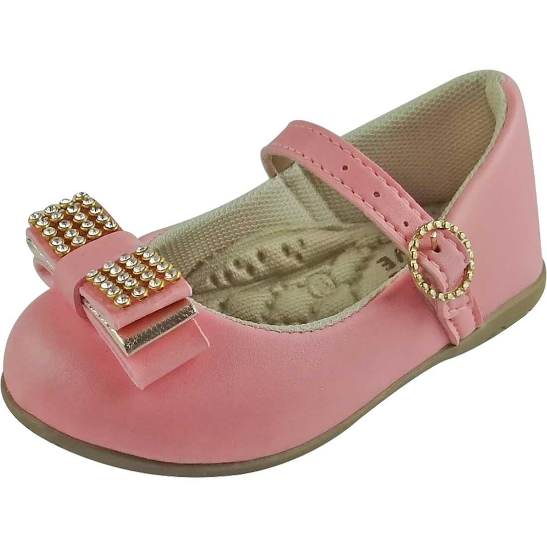 Sapato Boneca Baby com Laço e Strass - Rosa