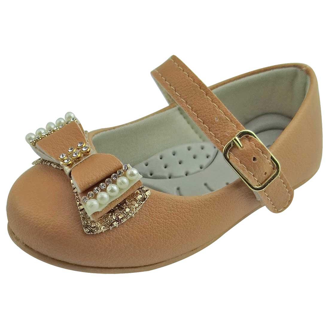 Sapato Boneca Baby com Laço, Strass e Pérola - Caramelo