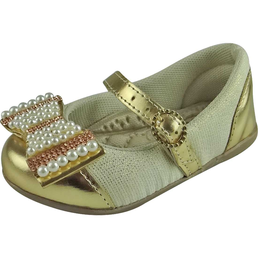 Sapato Boneca Baby com Laço Strass e Pérola - Dourado