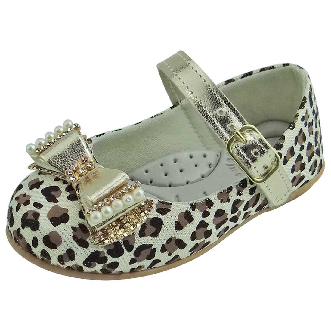 Sapato Boneca Baby com Laço, Strass e Pérola - Ouro